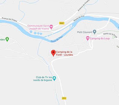 Google map to go to the campsite la Forêt in Lourdes